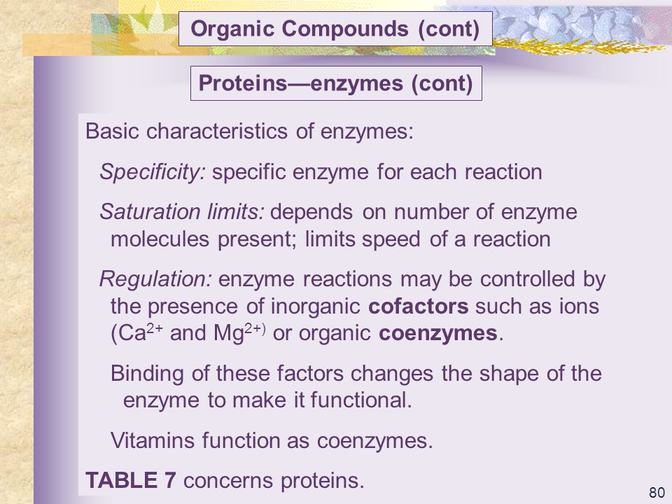 Organic Compounds (cont) Proteins—enzymes (cont)