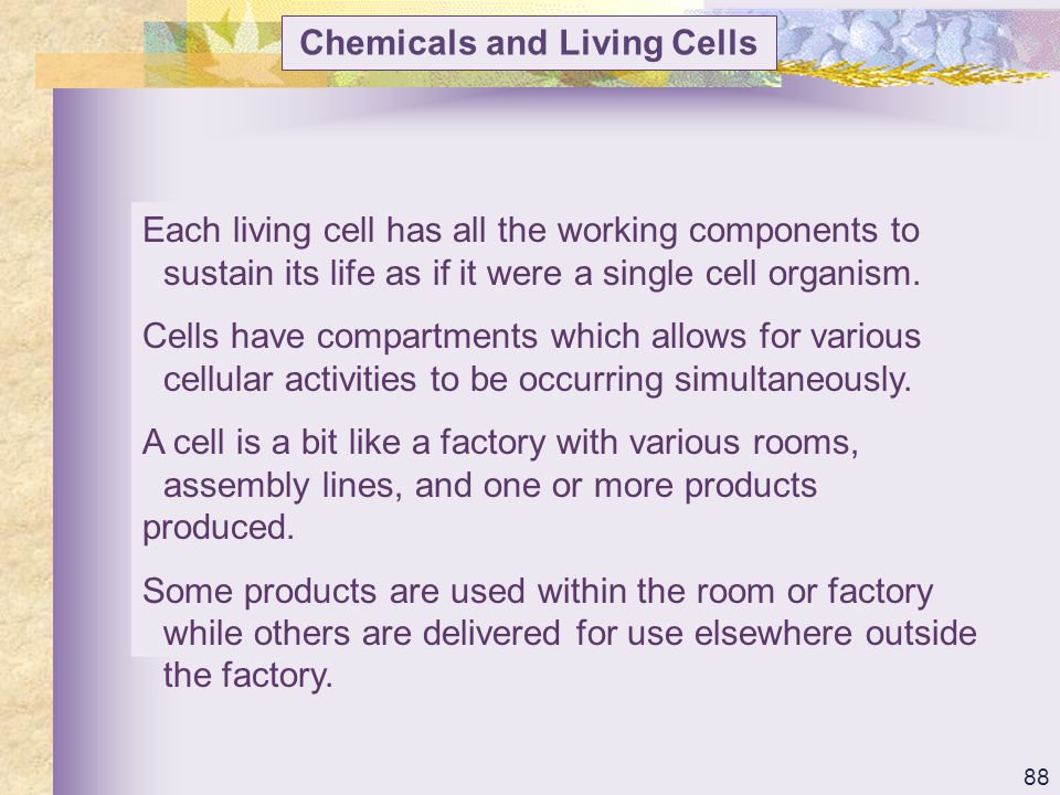Chemicals and Living Cells