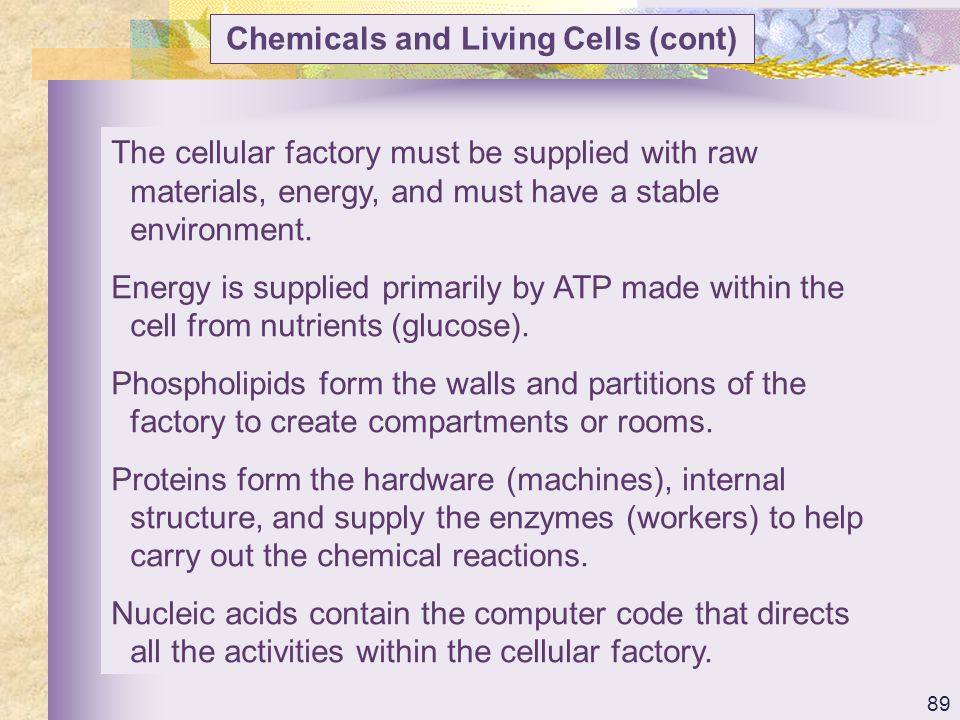 Chemicals and Living Cells (cont)