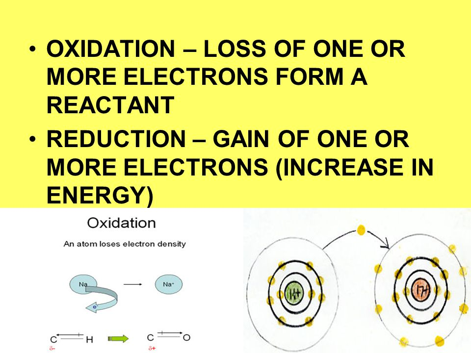 OXIDATION – LOSS OF ONE OR MORE ELECTRONS FORM A REACTANT