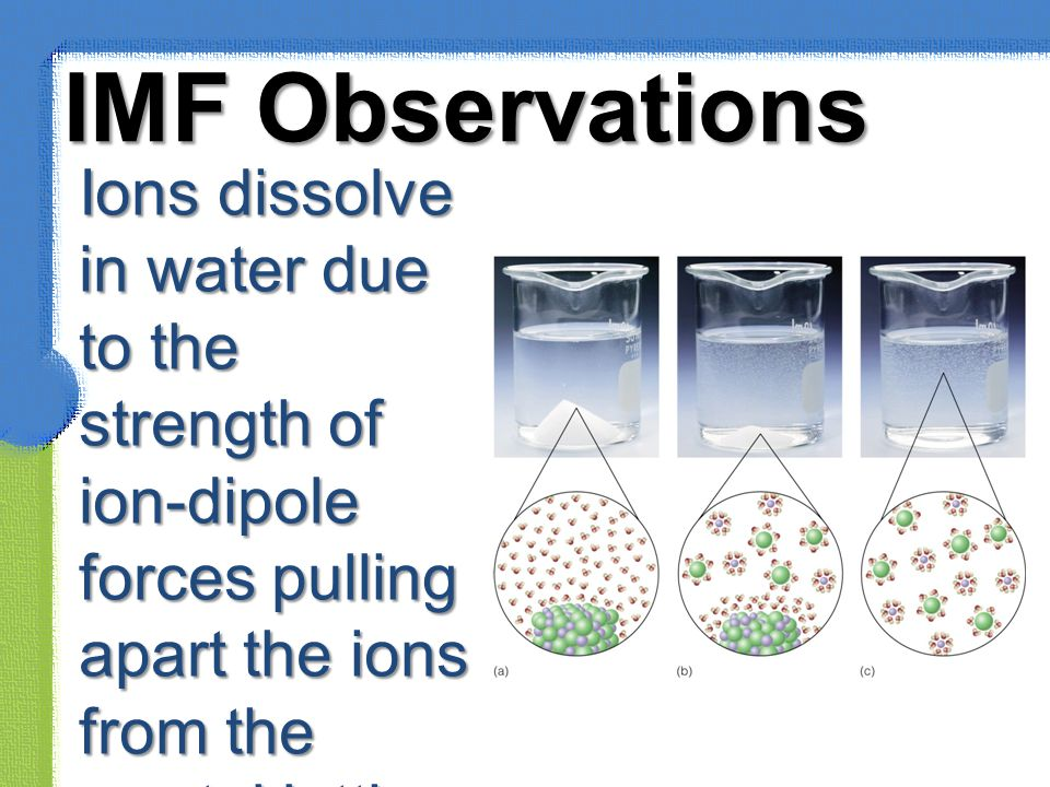 IMF Observations Ions dissolve in water due to the strength of ion-dipole forces pulling apart the ions from the crystal lattice.