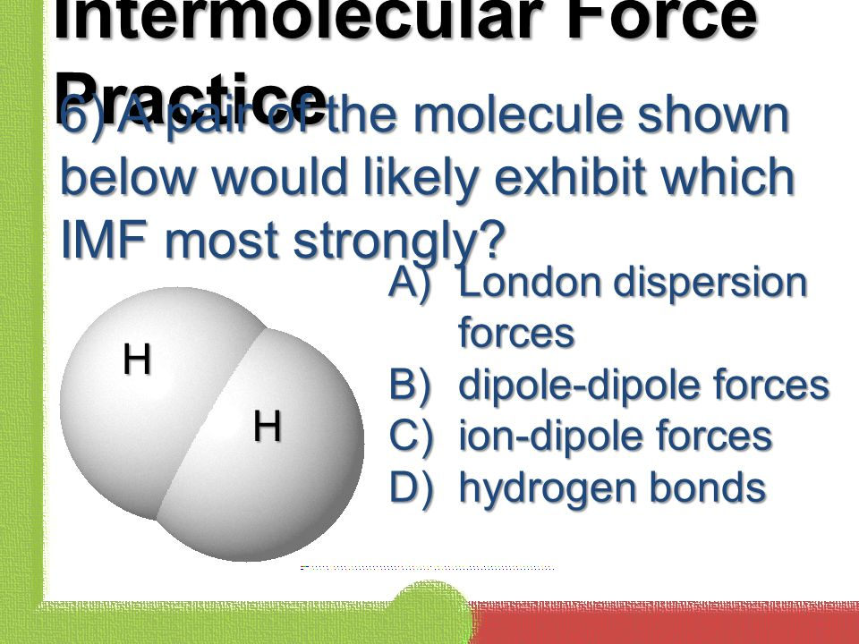 Intermolecular Force Practice