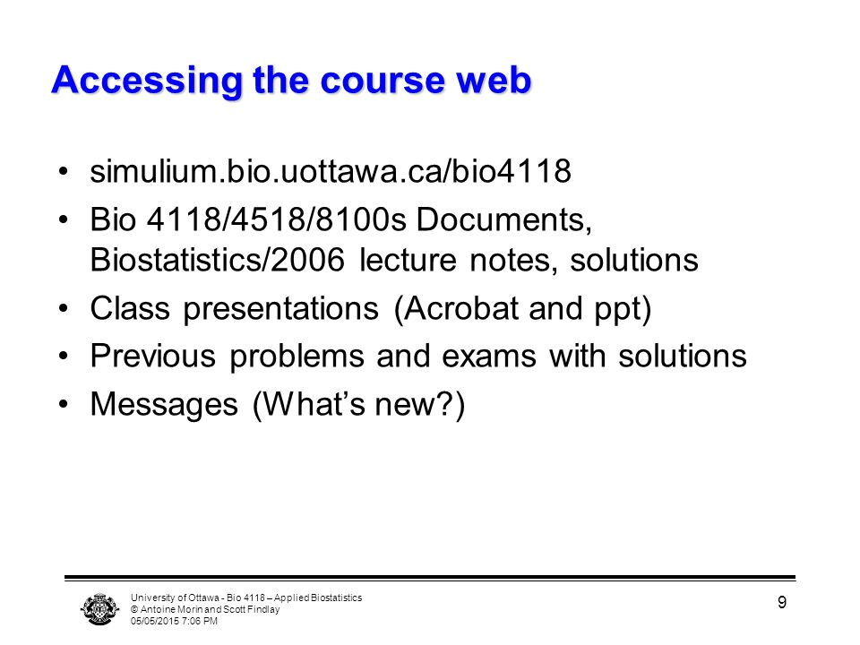 Accessing the course web