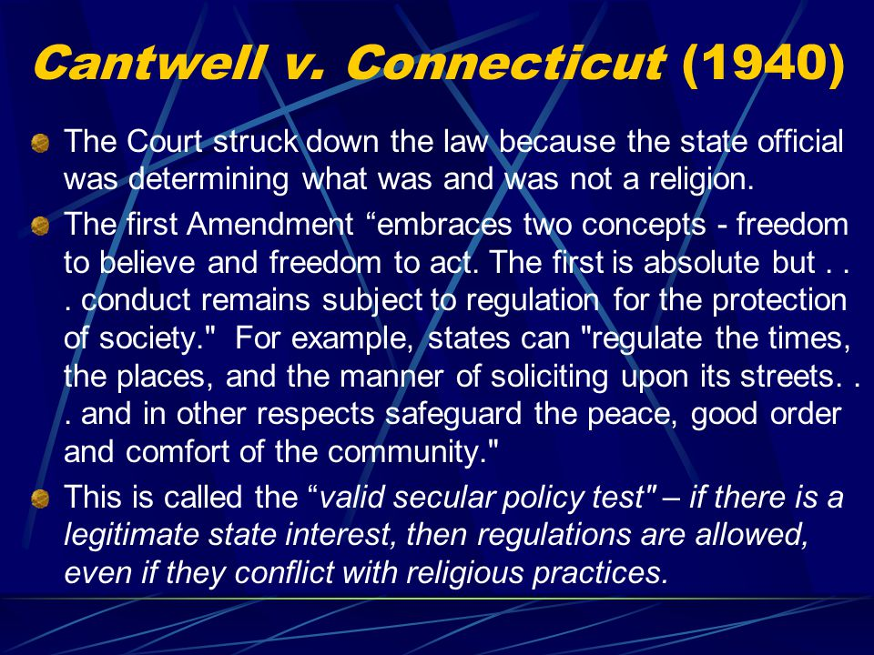 Cantwell v. Connecticut (1940)