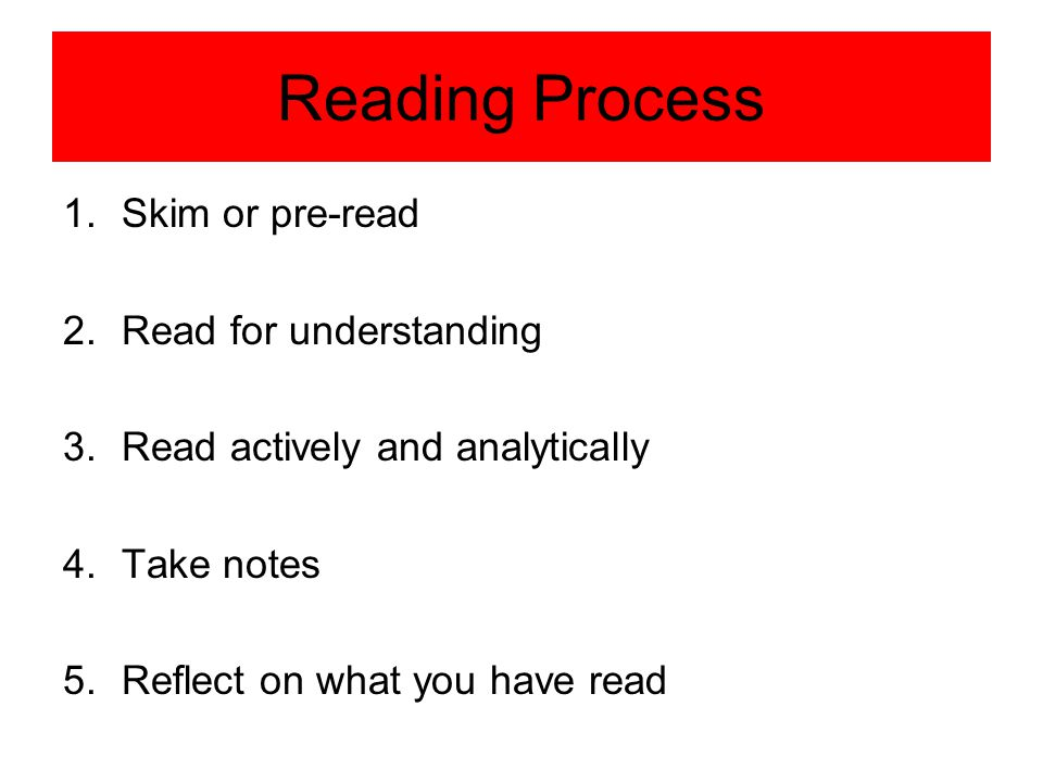 Reading Process Skim or pre-read Read for understanding