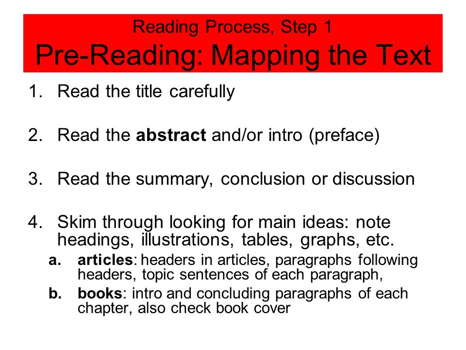 Reading Process, Step 1 Pre-Reading: Mapping the Text