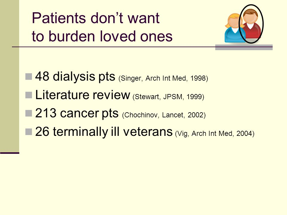 Patients don't want to burden loved ones