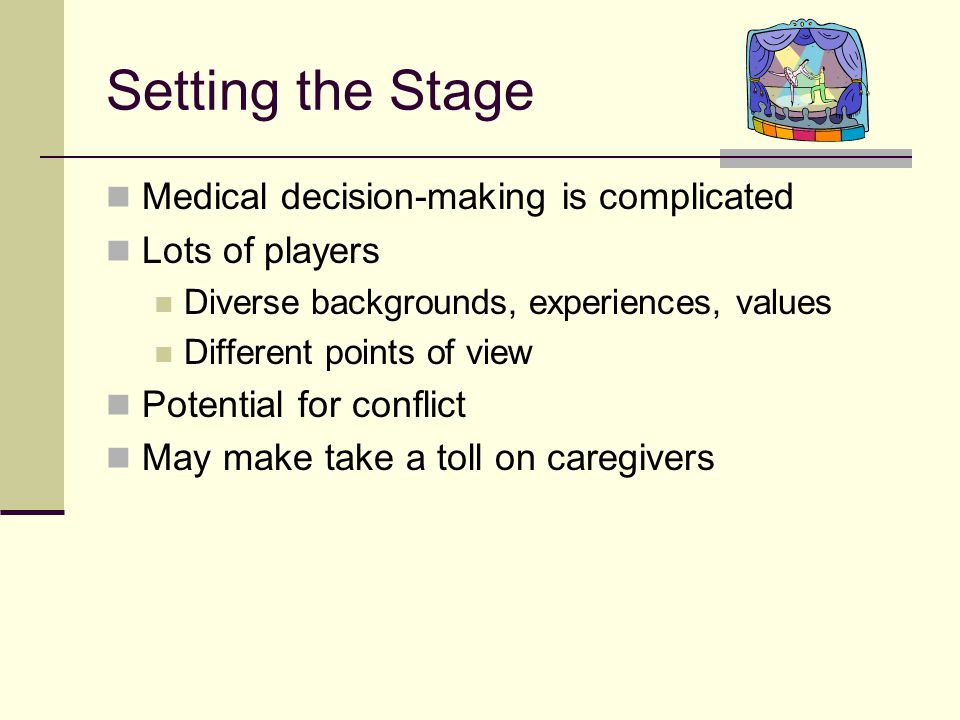 Setting the Stage Medical decision-making is complicated