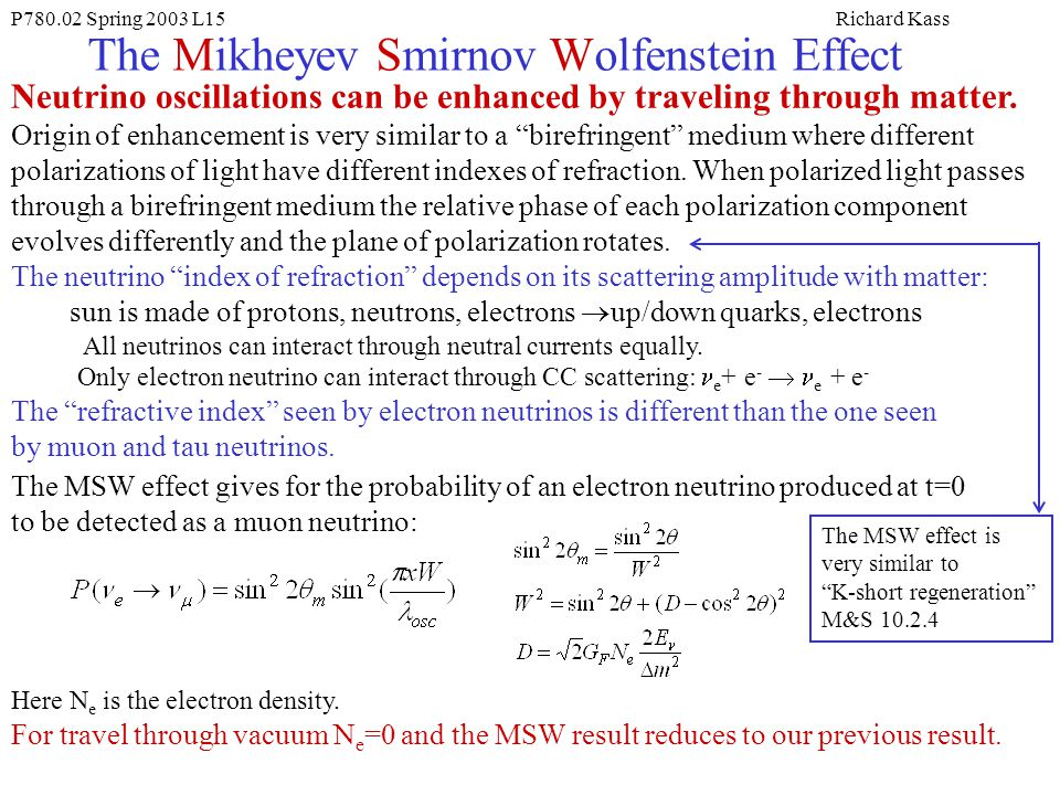 The Mikheyev Smirnov Wolfenstein Effect