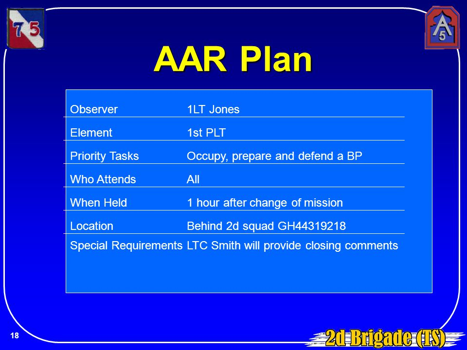 AAR Plan Observer 1LT Jones Element 1st PLT Priority Tasks
