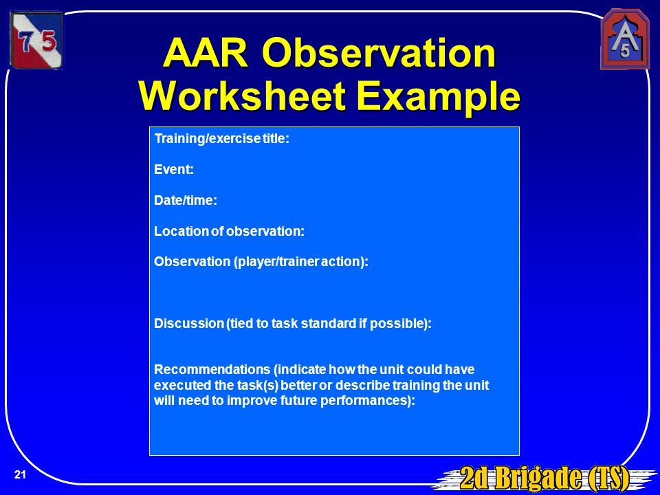 AAR Observation Worksheet Example