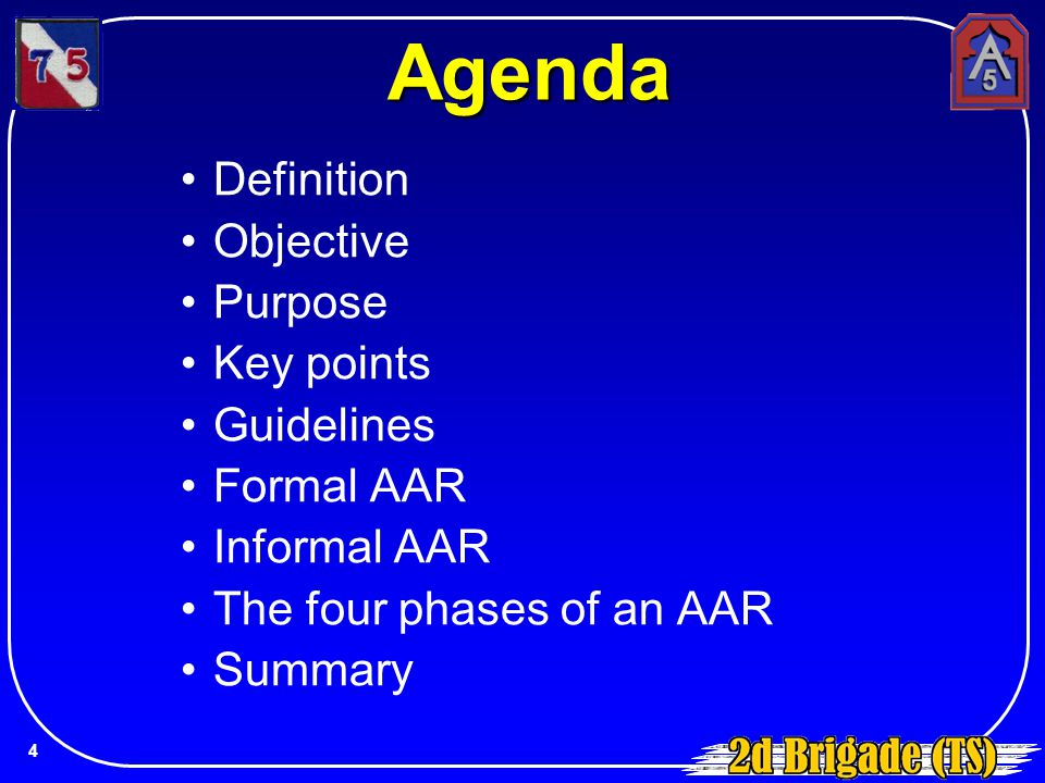 Agenda Definition Objective Purpose Key points Guidelines Formal AAR