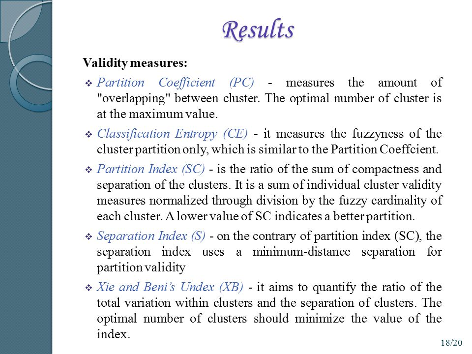 Results Validity measures: