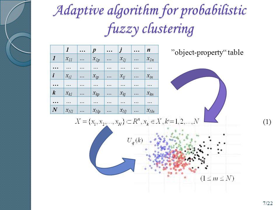 Adaptive algorithm for probabilistic fuzzy clustering