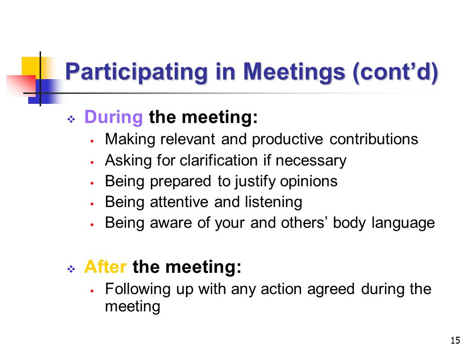 Participating in Meetings (cont'd)