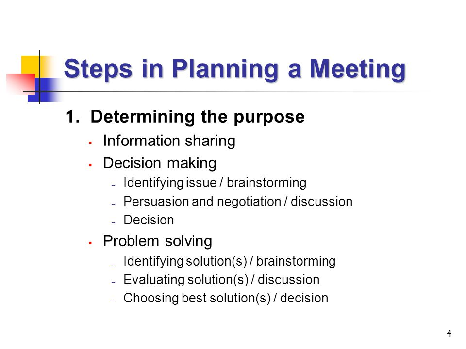 Steps in Planning a Meeting