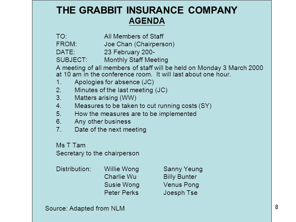 THE GRABBIT INSURANCE COMPANY AGENDA