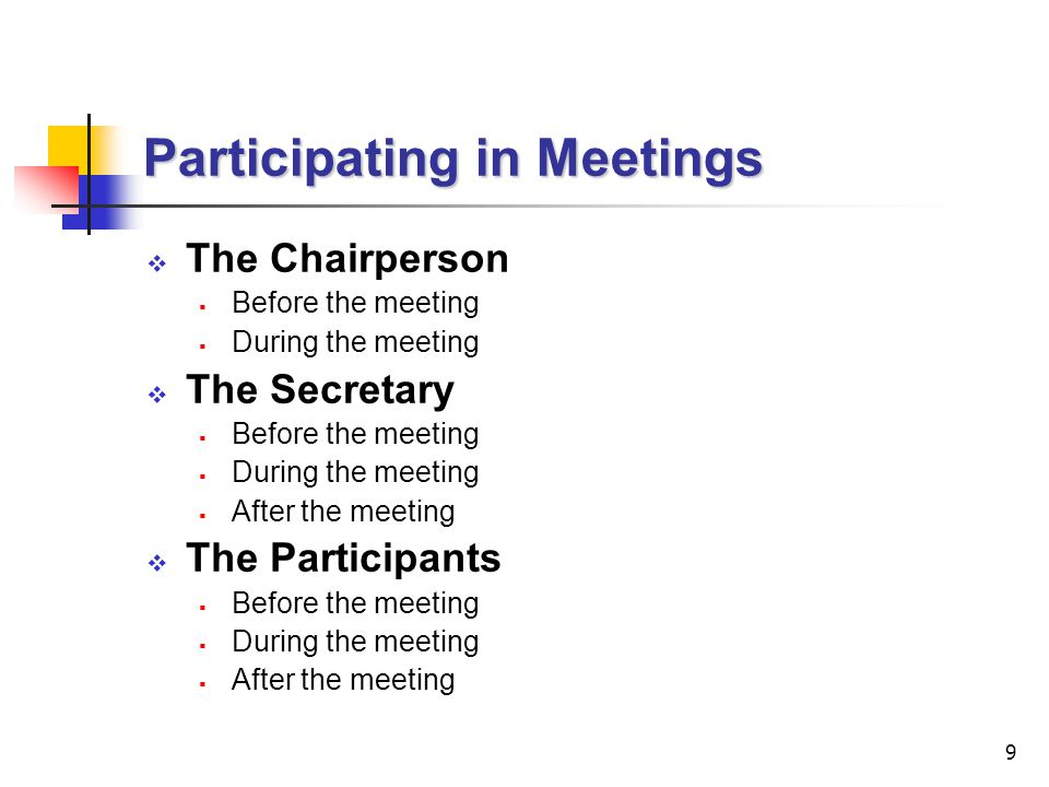 Participating in Meetings