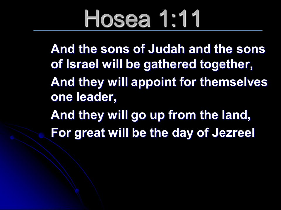 Hosea 1:11 And the sons of Judah and the sons of Israel will be gathered together, And they will appoint for themselves one leader,