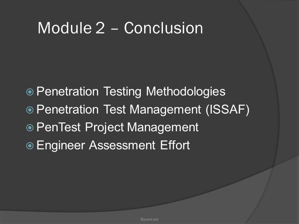 Module 2 – Conclusion Penetration Testing Methodologies