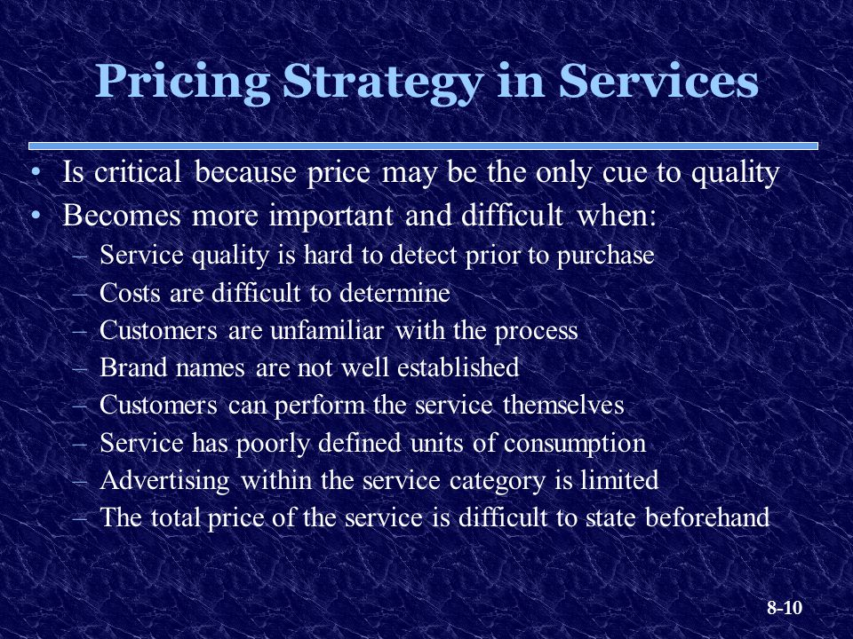 Pricing Strategy in Services