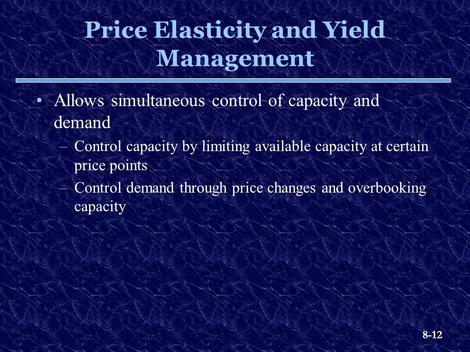 Price Elasticity and Yield Management