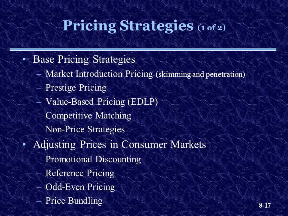 Pricing Strategies (1 of 2)
