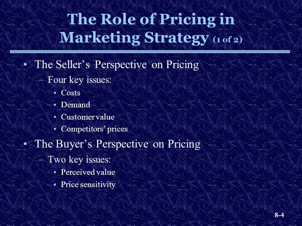 The Role of Pricing in Marketing Strategy (1 of 2)