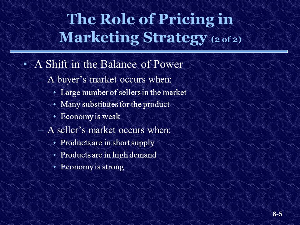 The Role of Pricing in Marketing Strategy (2 of 2)