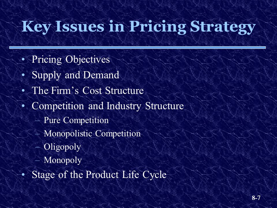 Key Issues in Pricing Strategy