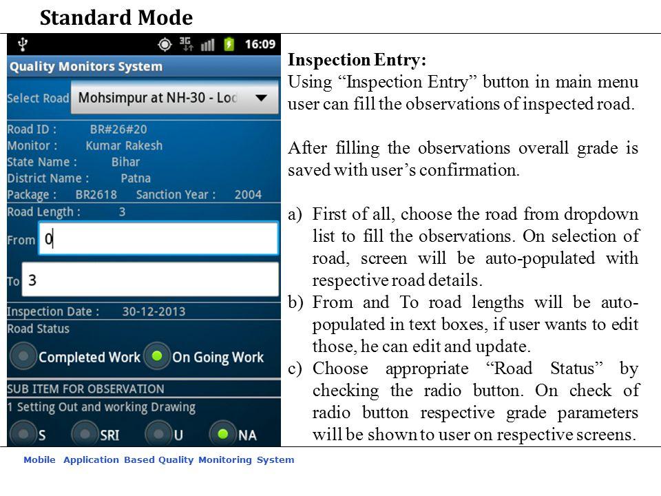 Standard Mode Inspection Entry: