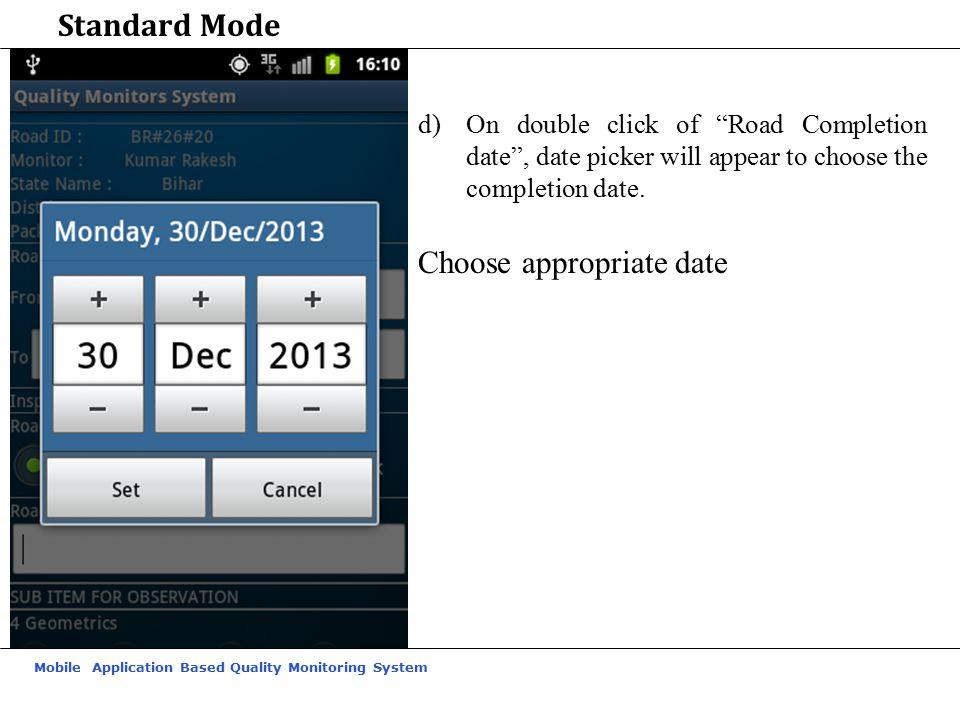Choose appropriate date