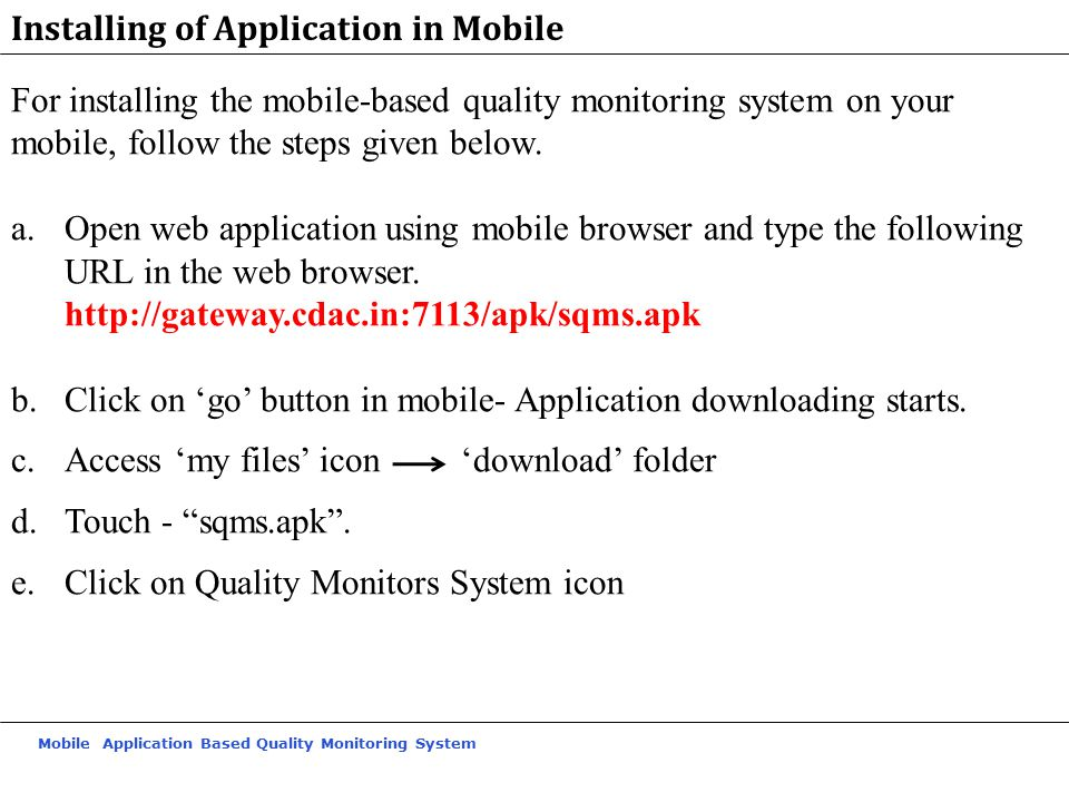 Installing of Application in Mobile