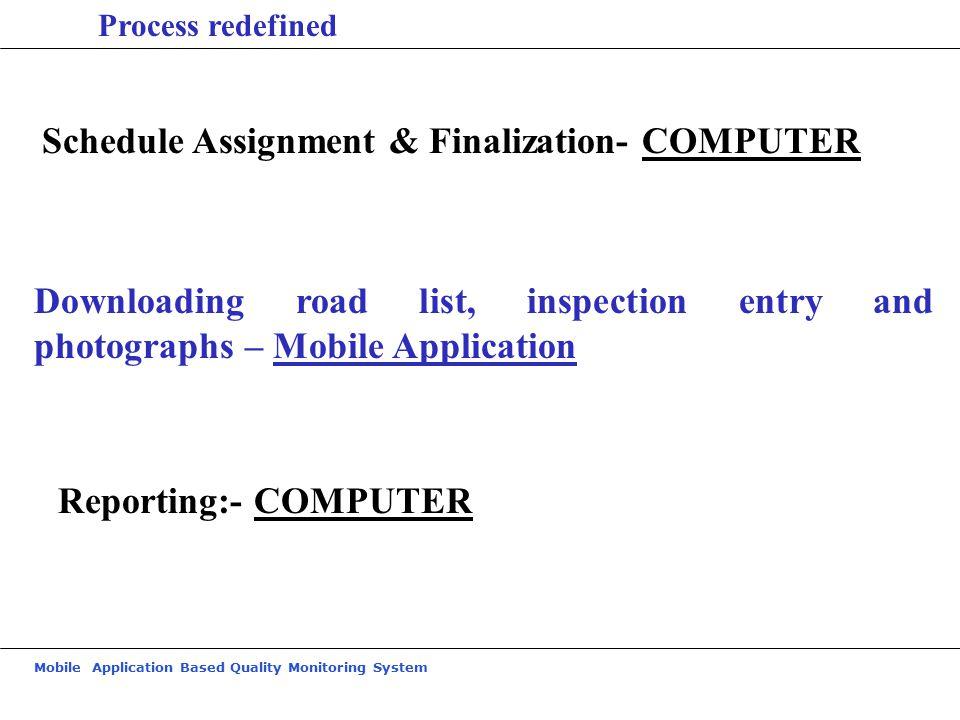 Schedule Assignment & Finalization- COMPUTER