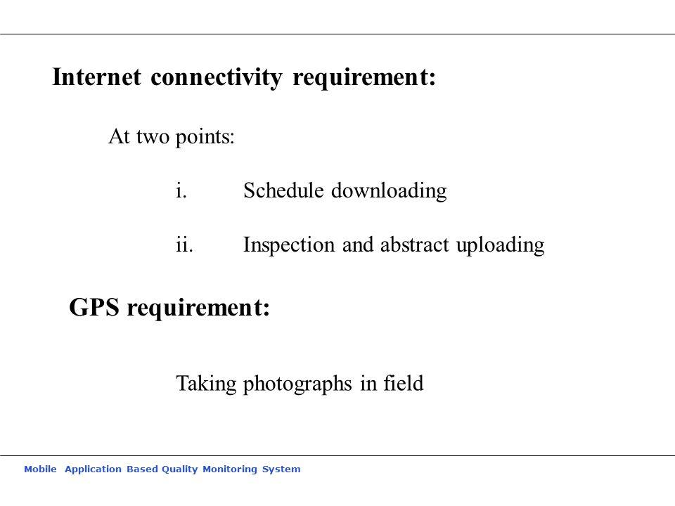 Internet connectivity requirement:
