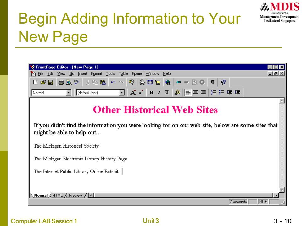 Begin Adding Information to Your New Page