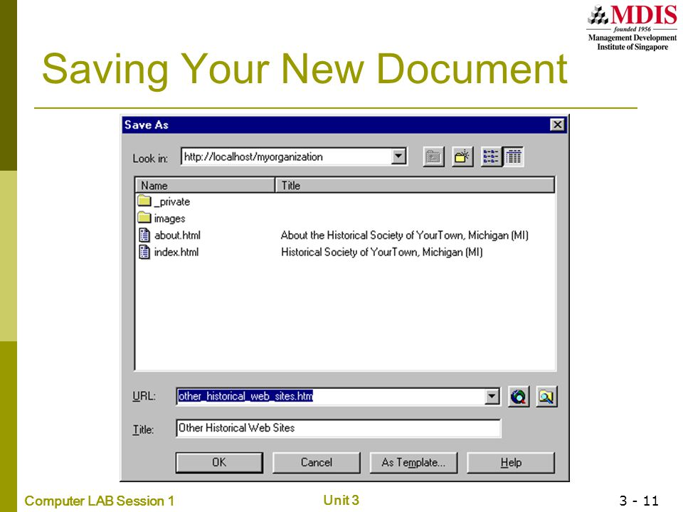 Saving Your New Document