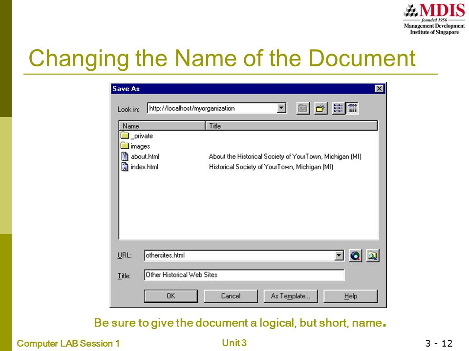 Changing the Name of the Document