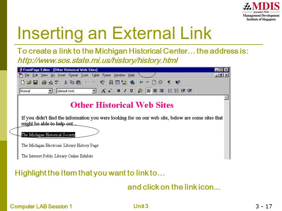 Inserting an External Link