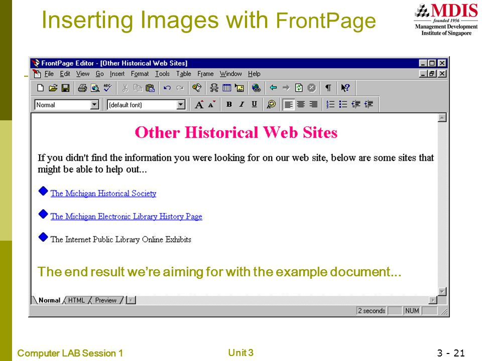 Inserting Images with FrontPage