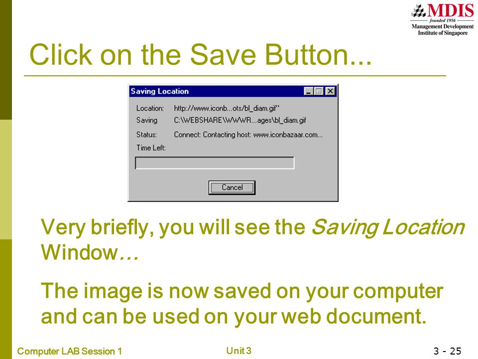 Click on the Save Button...