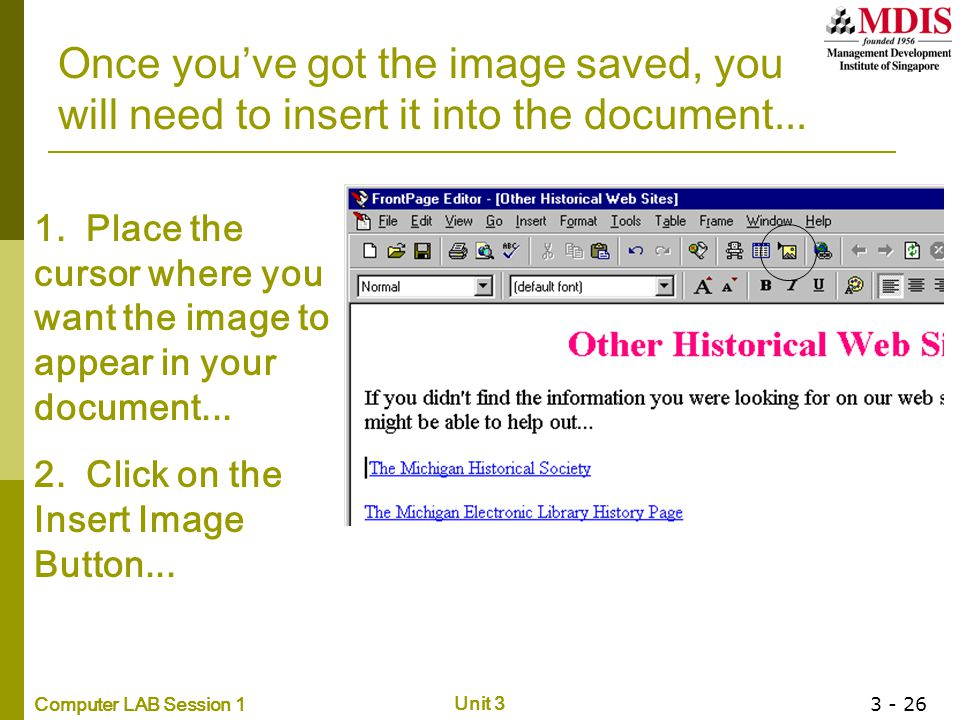Once you've got the image saved, you will need to insert it into the document...