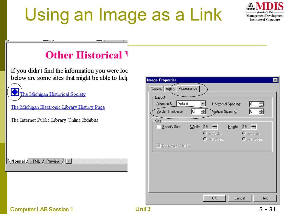 Using an Image as a Link Using an Image as a Link