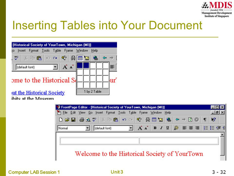 Inserting Tables into Your Document