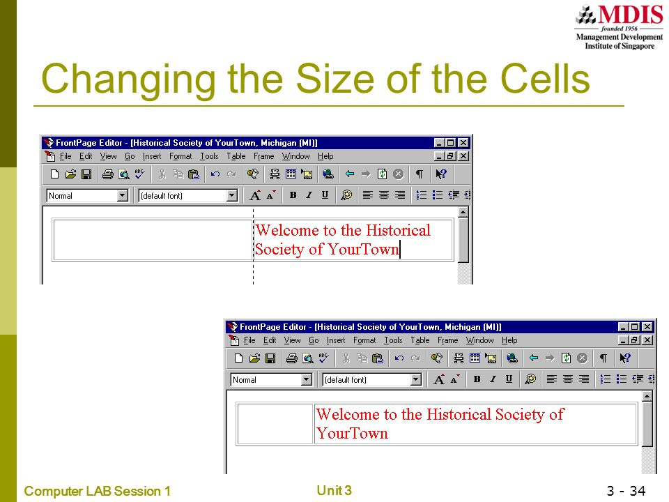 Changing the Size of the Cells