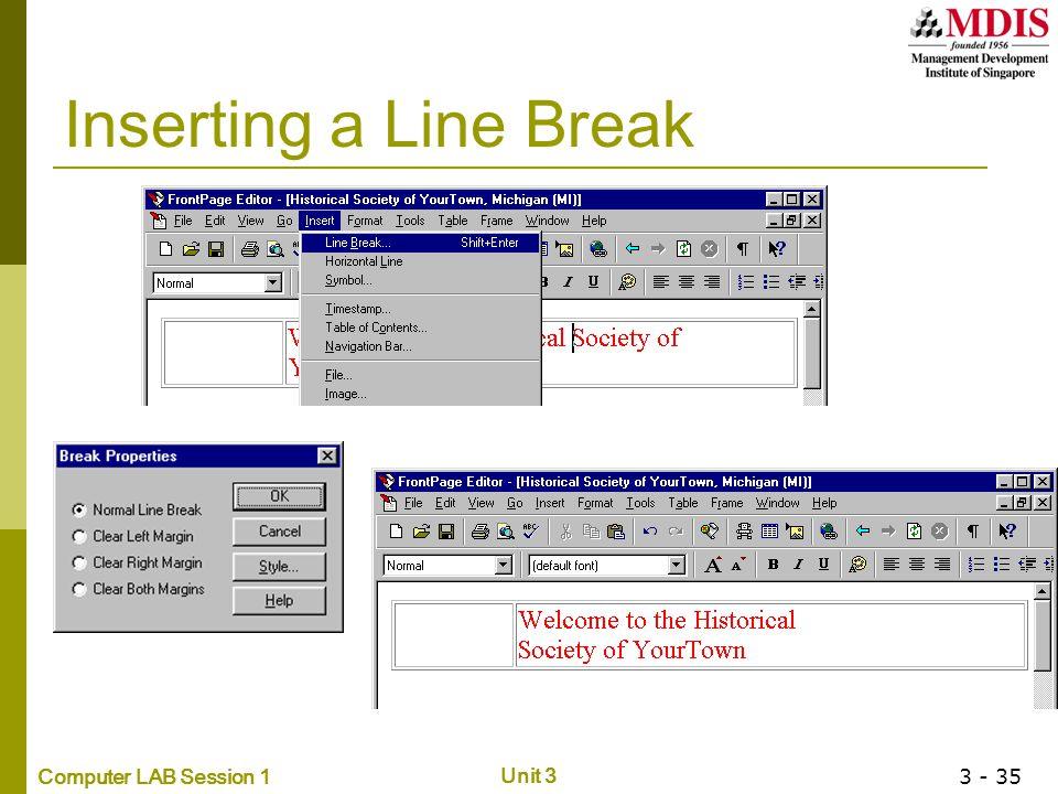 Inserting a Line Break