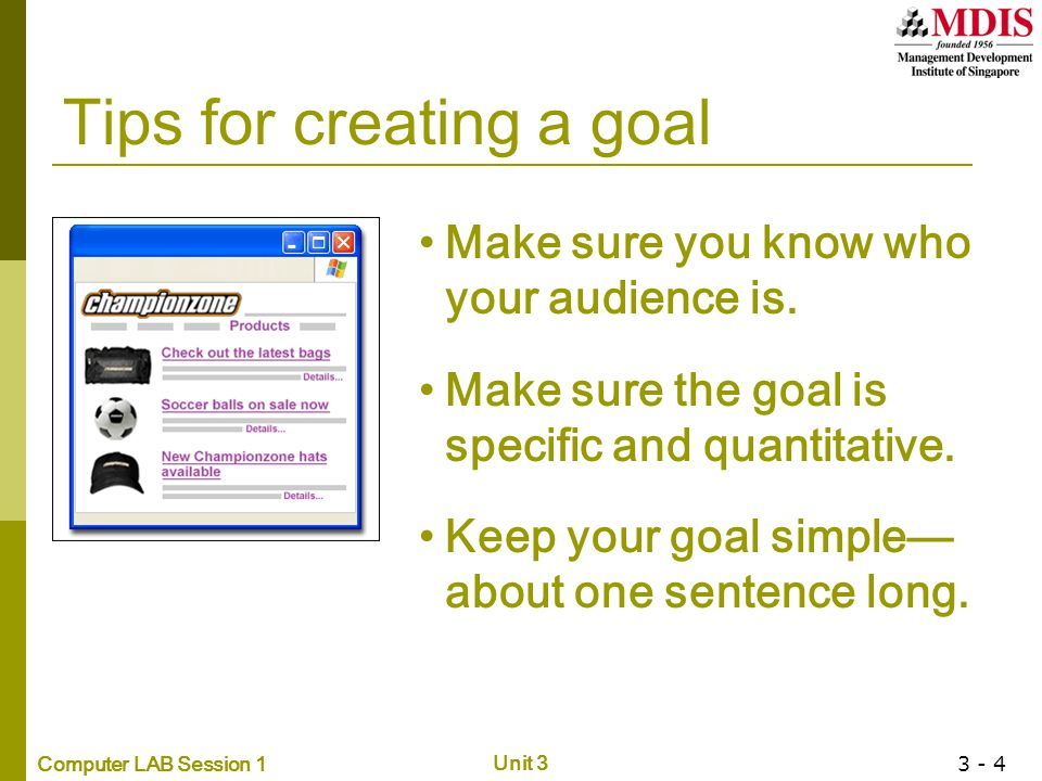 Tips for creating a goal