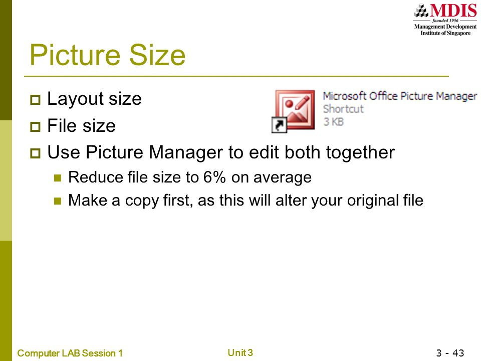 Picture Size Layout size File size