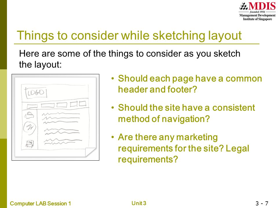 Things to consider while sketching layout