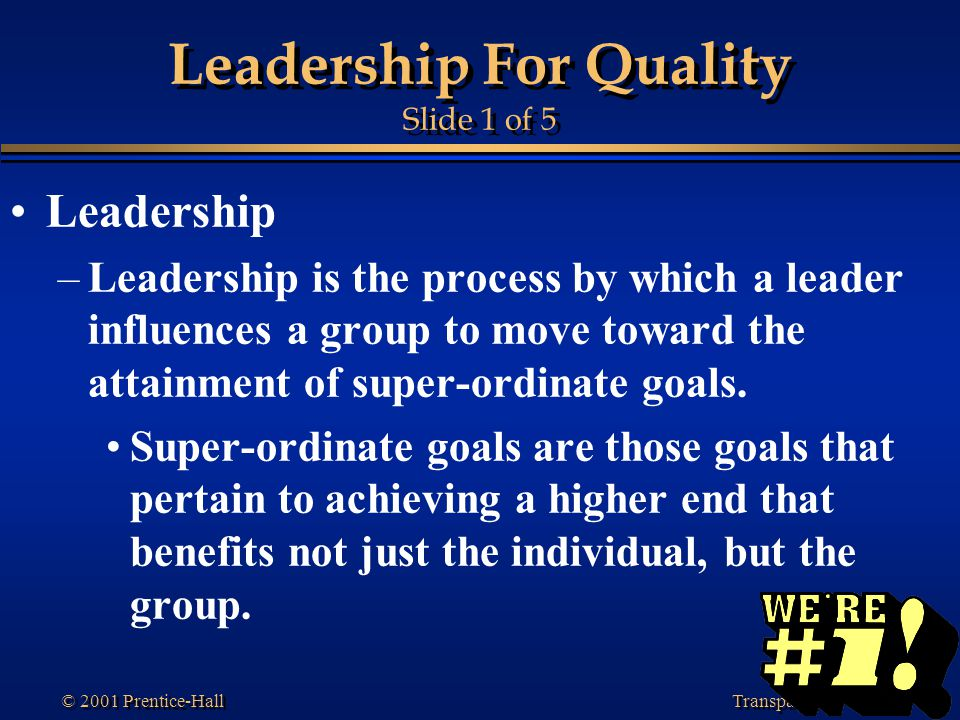 Leadership For Quality Slide 1 of 5
